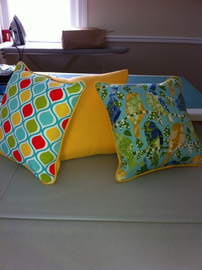 Pillows 2014 spring with coordinating piping and invisible zippers