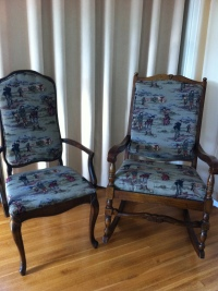 rocker and mate after reupholstering 2013